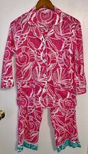 58a6d3da65c152 Lilly Pulitzer Pink & White Shell & Polka Dot Print Top & Bottom Pajama ...