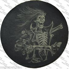 LEATHER PATCH SKELETON GHOST RIDER DEMON SKULL BIKER MOTORCYCLE VEST