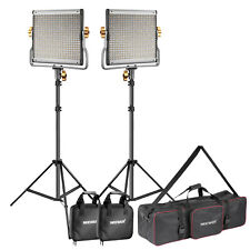 2* Dimmable Bi-color 480 LED Video Light with U Bracket and Stand and Bag Kit