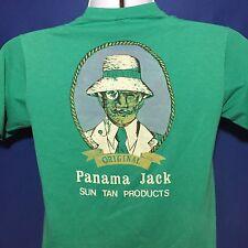 VTG 1980s Panama Jack T Shirt Sun Tan Lotion 80s Green Thin Soft Advertising *XS