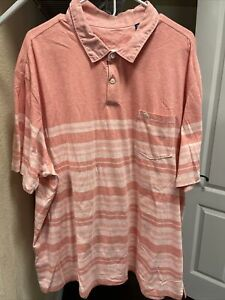 Men's Tommy Bahama Orange Salmon Striped Short Sleeve Polo Shirt Sz. 3XL