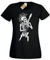 PUNK SKELETON T-Shirt Womens Guitar rock goth skull ladies biker music rocker