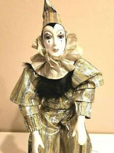 "Vintage French Clown Pierrot Doll EUC 16"" 1980's Gold & Silver"
