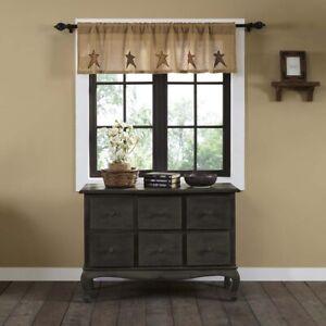 "VHC Brands Primitive 16""x60"" Burlap Star Valance Tan Rod Kitchen Window Curtains"