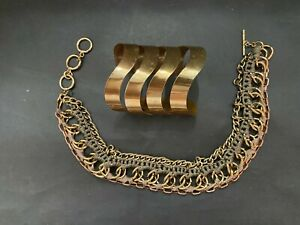 Steampunk Chain Link and Braided Fabric Choker Necklace and Cuff Bracelet