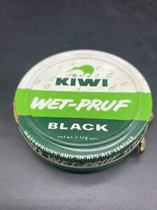 Vintage KIWI Wet-Pruf Black advertising tin Made in USA Leather Shoe Polish