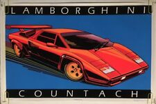 Lamborghini Countach vintage black light poster velvet flocked Car Pin-Up 1985