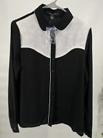 Woman's Size M Black & White Button Up Long Sleeve Semi Sheer Blouse Shirt A31
