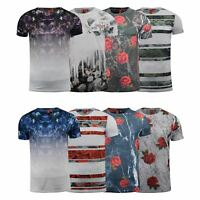 Mens T-Shirt Juice Floral Print Flower Crew Neck Tee Top