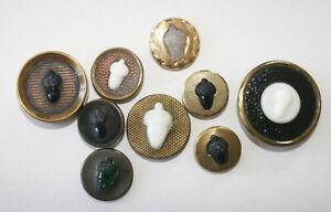 9 Antique Victorian Glass Acorns in Metal Buttons~Black, Milk & Green Glass