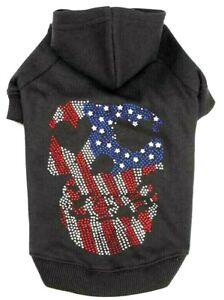 Zack & Zoey American Flag Skull Hoodie Hooded Sweatshirt for Dogs Cats XXS