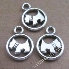 10pc Tibetan Silver 2-Sided Dog Animal Charms Pendant Jewellery Making PL252