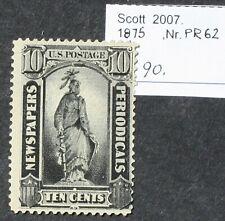 US.  1875,  #PR62  no gum NEWSPAPER. SC value $90