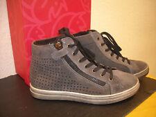 Lepi High Top Sneaker, Leder, leicht gefüttert, grau mit kleinen Nieten, Gr.39