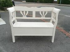 "Pine Storage Bench Box Settle 48"" Wide Shaded White"