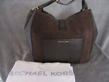 MICHAEL KORS 30F6AQYE3S Quincy Coffee Suede Leather Shoulder Handbag Purse NWT