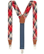 $75 Club Room Men Blue Plaid Clip End 32mm Width Braces Adjustable Suspenders