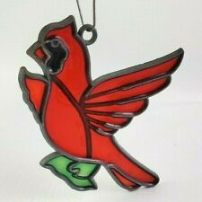 "Vintage RED CARDINAL BIRD "" Stained Glass "" Plastic  Leaded Sun Catcher"