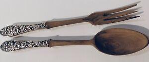 Frank Whiting Sterling Salad Fork Set Spoon & Fork Tiger Lily Floral