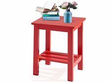 Beistelltisch Wohnzimmertisch Couchtisch Ablage Tisch klein Hevea Holz MDF rot