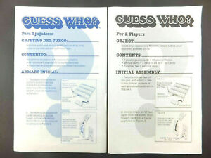 Guess Who 1991 Replacement Directions Instructions in English and Spanish