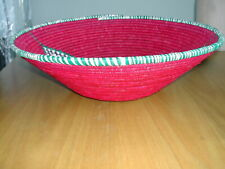 LARGE BRIGHT PINK WOVEN UGANDAN SUSTAINABLE TRADE BASKET  - BRAND NEW WITH LABEL