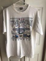 Vintage NEW Stone Mountain Park Georgia Heather Grey Single Stitch T Shirt Sz Lg