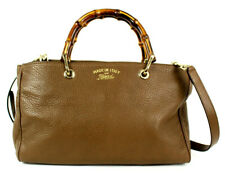 GUCCI $1,890 Brown Pebbled Leather Medium BAMBOO SHOPPER Tote Bag