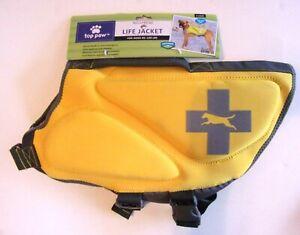Neoprene Dog Life Jacket - TOP PAW - Sz XL 85 - 100 lbs - Yellow