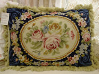 "20"" Beautiful French Victorian Rose Garland Floral Hand Woven Needlepoint Pillow"
