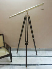 ANTIQUE BRASS TELESCOPE WITH WOODEN TRIPOD STAND