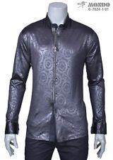 Mondo Italian Fashion Men zipper Long/Sleeve shirt black print circles pattern