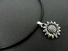 "A LADIES BLACK LEATHER CORD 13 - 14"" CHOKER SUNFLOWER CHARM NECKLACE. NEW."