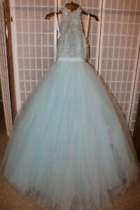 NWT Sherri Hill 53727 Light blue size 00 Lace & Tulle full ball gown PROM dress