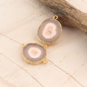 Genuine Solar Quartz Gold Electroplated DIY Earring Pairs Double Bail Connector