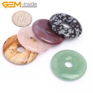 Natural Gemstones Round Donut Pendant Beads For Jewellery Making 1 Pcs UK