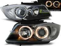 Coppia di Fari Anteriori BMW Serie 3 E90 E91 2005-2008 Angel Eyes Neri DEPO IT L