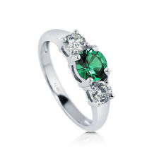 Ctw Silver Stackable Ring Sz.6 Stylish Green Cubic Zirconia 2