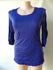 EVERSUN new Stunning indigo blue crinkle top size 16 NWT 3/4 sleeves