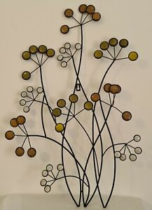 Metal Wall Hanging Flowers Autumnal Colouring