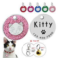 Engraved Cat Tag Disc Personalised Puppy Kitten Name ID Collar Tags Glitter 25cm