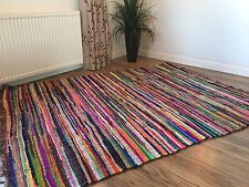 ❤️SHABBY CHIC RAG RUG MULTI COLOURED WITH FRINGED EDGES 75cm x 120cm FAIR TRADE