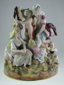 Huge Antique 19th Century Meissen Porcelain Group Figurines Circa 1870