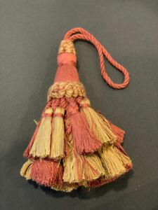 "4&1/2"" Coral Gold Tied Key Tassel Fabric Trim  Lot Of 2"