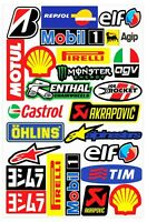 Set 25 PVC Vinyle Autocollants Agip Elf Shell Castrol Stickers Voiture Auto Moto