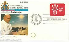 1981**FDC 1°JOUR!!!**VATICAN-VISTE DU PAPE J.PAUL II ANCHORAGE**TIMBRE USA