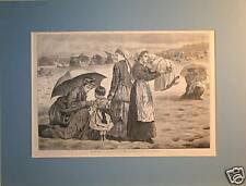 Antique Print ~ Children and Mothers on Beach, Winslow Homer, 1874, Matted