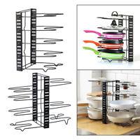Kitchen Pots Rack Organizer Pans Holder Cabinet Pantry Pot Lid Storage Black