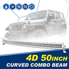 "4D 50"" 672W White CREE Curved Led Light Bar Combo Driving Truck SUV ATV 4WD 52"""