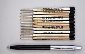 10 black refills 0.8mm point compatible with Parker pen + black barrel click pen